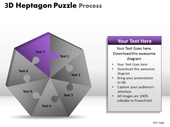 PowerPoint Layouts Download Heptagon Puzzle Ppt Slide