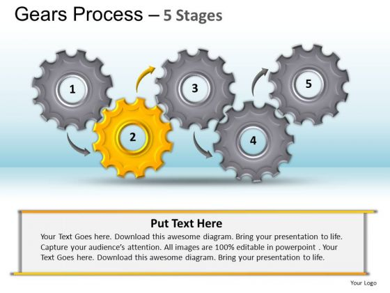 PowerPoint Layouts Editable Gears Process Ppt Design