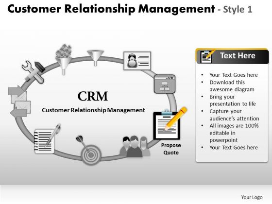 PowerPoint Layouts Growth Customer Relationship Management Ppt Templates