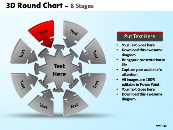 PowerPoint Layouts Leadership Pie Chart With Arrows Ppt Design