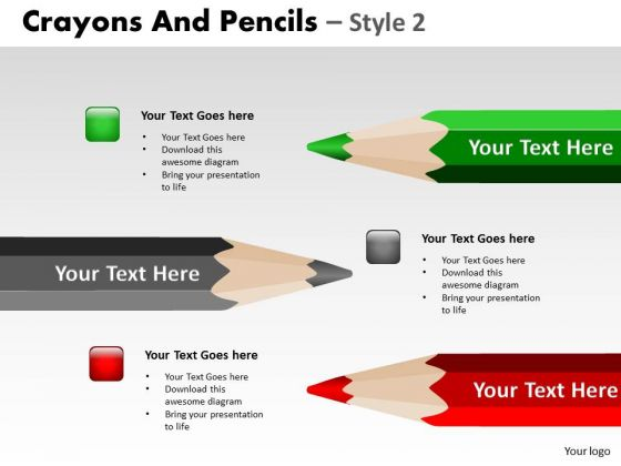 PowerPoint Layouts Success Crayons And Pencils Ppt Slide Designs
