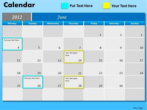 PowerPoint Presentation Business June Calendar 2012 Ppt Slides