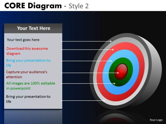 PowerPoint Presentation Business Strategy Goals Core Diagram Ppt Themes