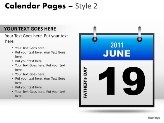 PowerPoint Presentation Calendar 19 June Teamwork Ppt Themes