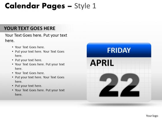 PowerPoint Presentation Calendar 22 April Diagram Ppt Design Slides