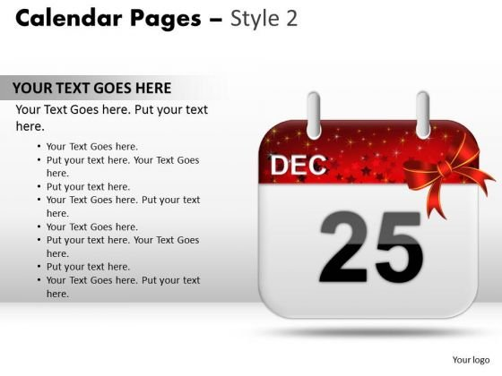 PowerPoint Presentation Calendar 25 Dec Success Ppt Presentation Designs