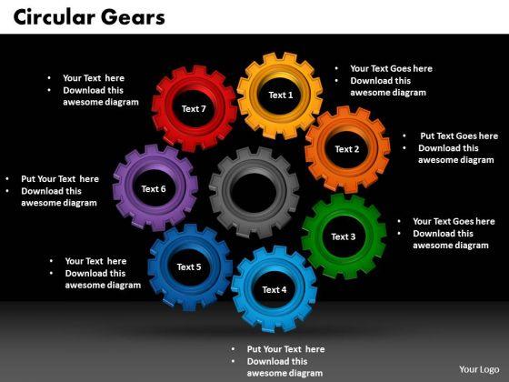 PowerPoint Presentation Circular Gears Growth Ppt Theme