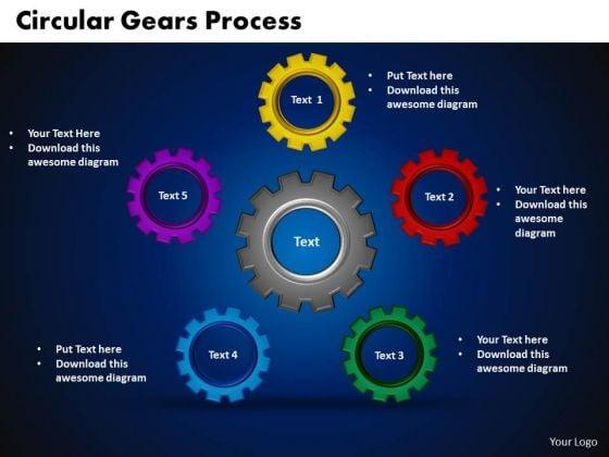 PowerPoint Presentation Circular Gears Process Teamwork Ppt Slides