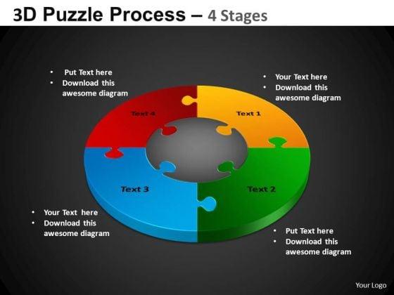 PowerPoint Presentation Company Pie Chart Puzzle Process Ppt Design Slides