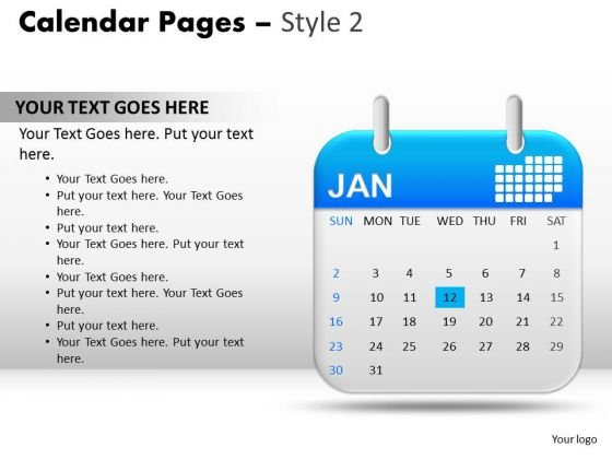 PowerPoint Presentation Designs Calendar Growth 12 Jan Ppt Slides