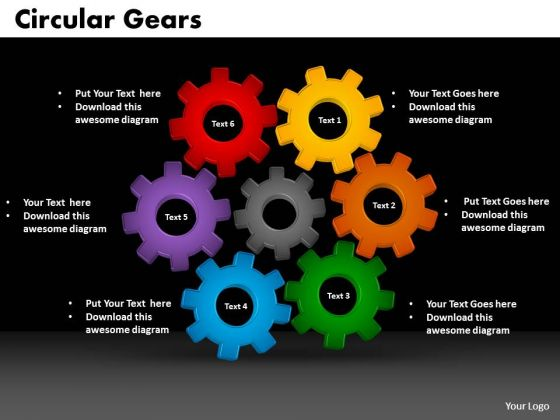 PowerPoint Presentation Designs Circular Gear Leadership Ppt Slide