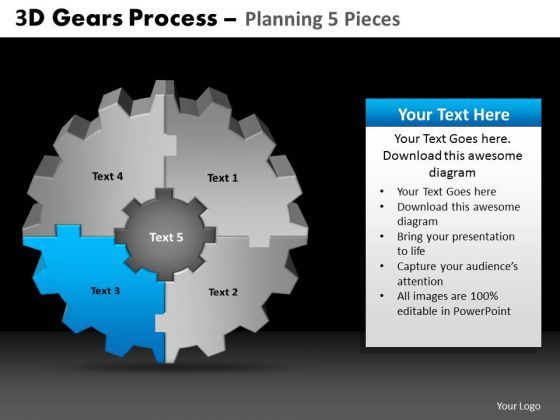 PowerPoint Presentation Designs Graphic Gears Process Ppt Theme