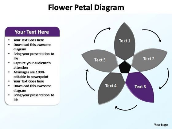PowerPoint Presentation Designs Growth Flower Petal Ppt Themes
