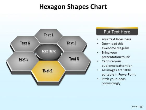 PowerPoint Presentation Designs Sales Hexagon Shapes Ppt Theme