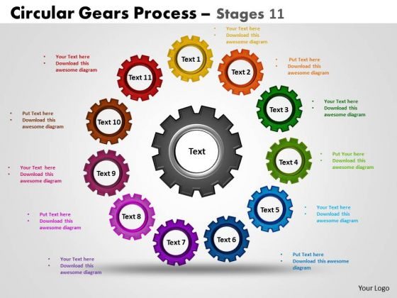 PowerPoint Presentation Designs Strategy Circular Gears Ppt Process
