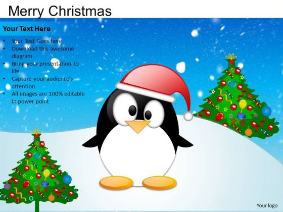 PowerPoint Presentation Penguin Snow Merry Christmas Ppt Theme