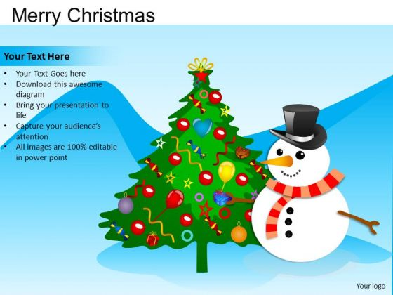 PowerPoint Presentation Tree Merry Christmas Ppt Template