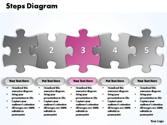 PowerPoint Process Business Five Improvement Steps Puzzle Ppt Slides