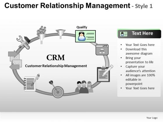 PowerPoint Process Business Growth Customer Relationship Management Ppt Templates