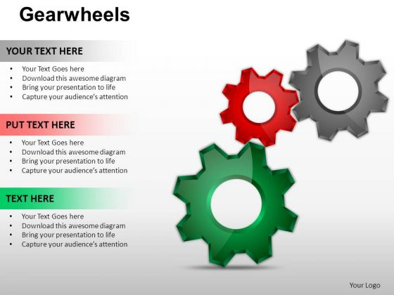 PowerPoint Process Chart Gear Wheel Ppt Slidelayout