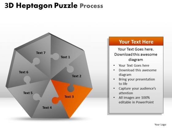PowerPoint Process Chart Heptagon Puzzle Ppt Slide