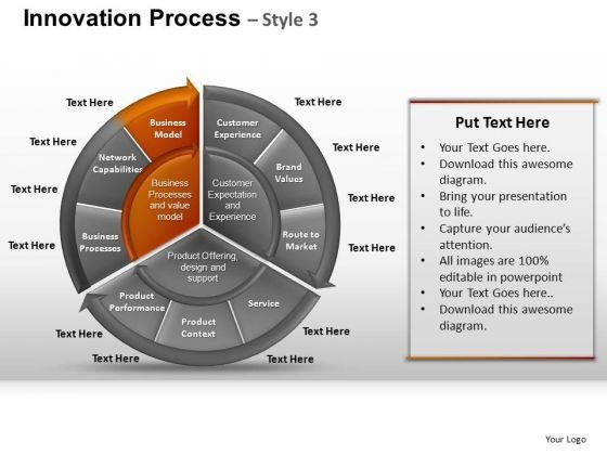 PowerPoint Process Chart Pie Chart Ppt Backgrounds