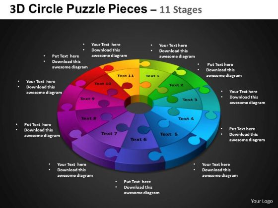 PowerPoint Process Circle Chart Circle Puzzle Diagram Ppt Template