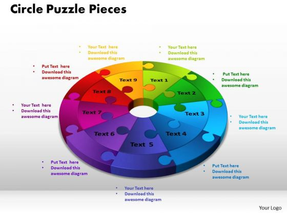 PowerPoint Process Circle Puzzle Pieces Business Ppt Theme