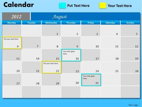 PowerPoint Process Company Success August Calendar 2012 Ppt Templates