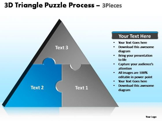 PowerPoint Process Company Triangle Puzzle Ppt Templates