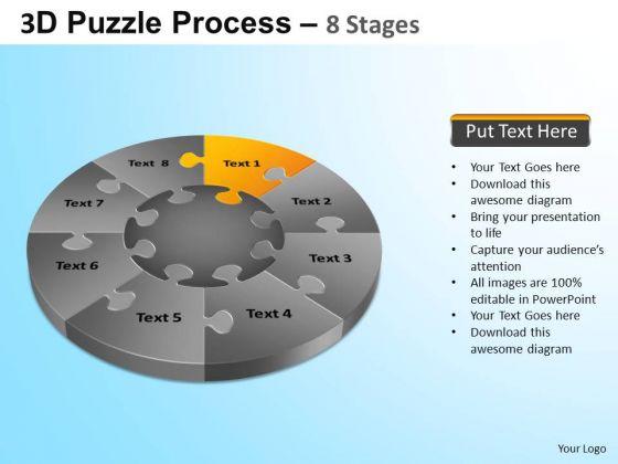 PowerPoint Process Corporate Success Puzzle Segment Pie Chartppt Slide