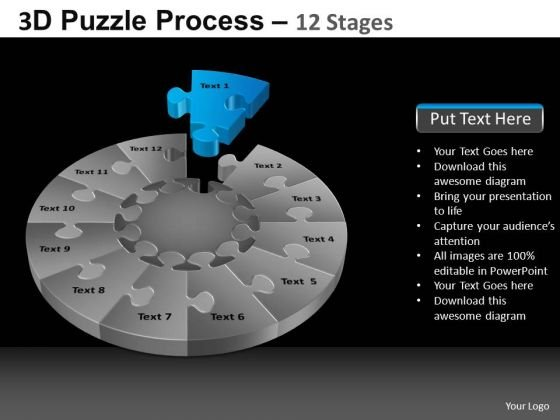 PowerPoint Process Diagram Pie Chart Puzzle Process Ppt Slide