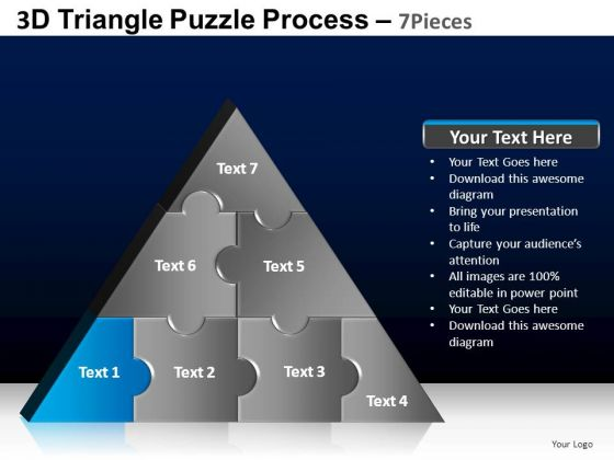 PowerPoint Process Diagram Triangle Puzzle Ppt Backgrounds