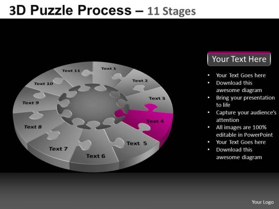 PowerPoint Process Download Pie Chart Puzzle Process Ppt Slide