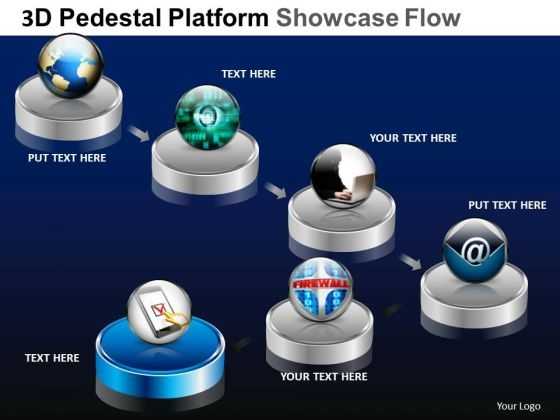 PowerPoint Process Editable Pedestal Platform Showcase Ppt Design Slides