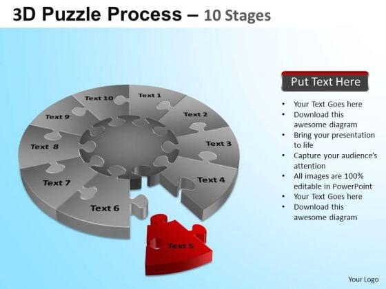 PowerPoint Process Editable Puzzle Segment Pie Chart Ppt Theme