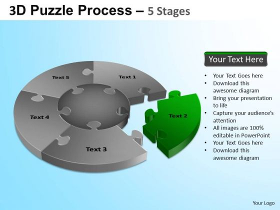 PowerPoint Process Education Jigsaw Pie Chart Ppt Backgrounds