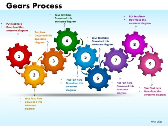 PowerPoint Process Gears Process Marketing Ppt Design