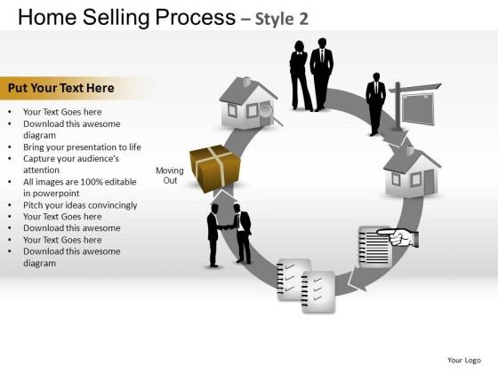 PowerPoint Process Graphic Home Selling Ppt Slide