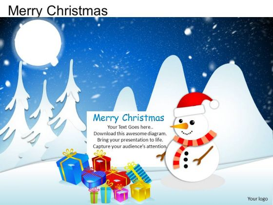 PowerPoint Process Graphic Merry Christmas Ppt Slide