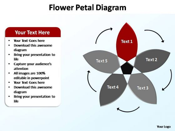 PowerPoint Process Leadership Flower Petal Ppt Design Slides