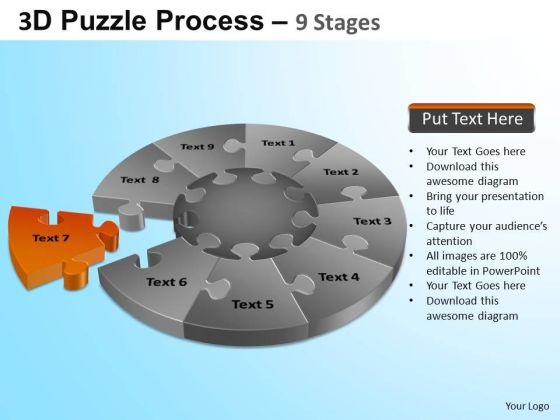PowerPoint Process Leadership Puzzle Segment Pie Chart Ppt Theme