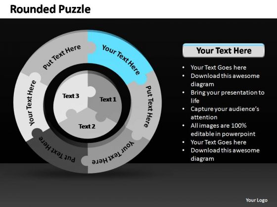 PowerPoint Process Marketing Rounded Puzzle Ppt Slides