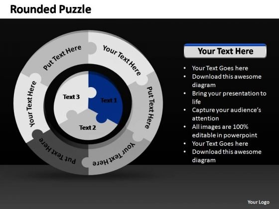 PowerPoint Process Marketing Rounded Puzzle Ppt Theme