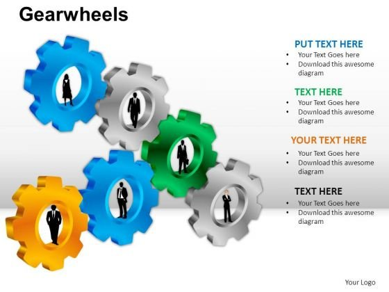 PowerPoint Process Sales Gear Wheel Ppt Template