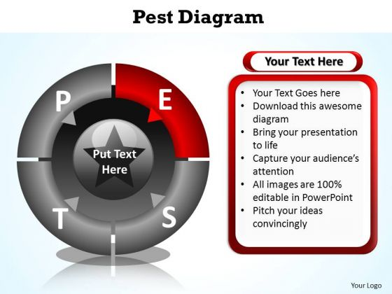 PowerPoint Process Strategy Pest Diagram Ppt Themes