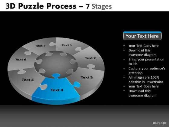 PowerPoint Process Strategy Pie Chart Puzzle Process Ppt Template