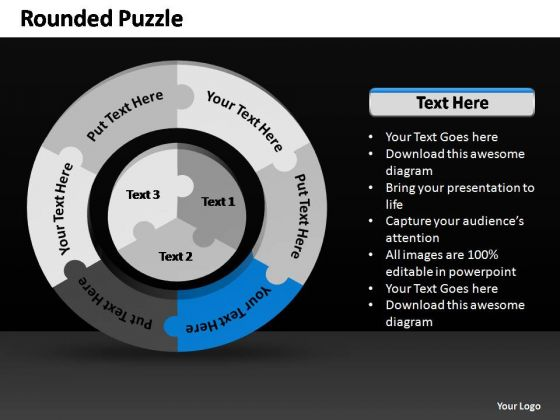 PowerPoint Process Strategy Rounded Puzzle Ppt Slides