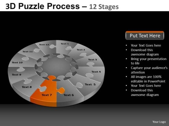 PowerPoint Process Success Pie Chart Puzzle Process Ppt Slide