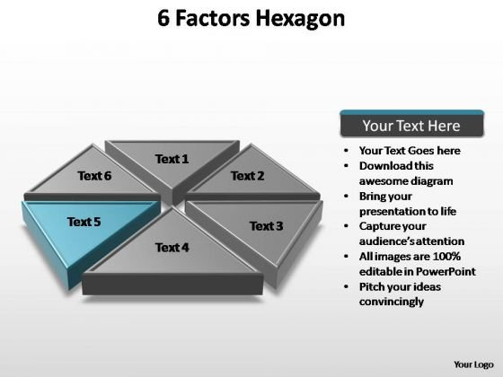 PowerPoint Process Teamwork Factors Hexagon Ppt Template